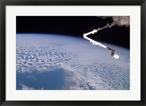 Framed Robotic Canadarm2 above Earth Print