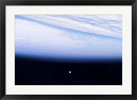 Framed Full Moon above Earth's Horizon and Airglow Print