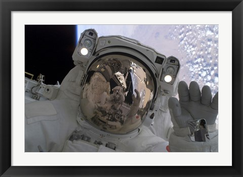 Framed Astronaut Waves at his Space-Walking Crewmate Print