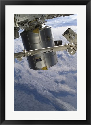 Framed Italian-Built Raffaello Multi-Purpose Logistics Module and the Canadarm2 Print