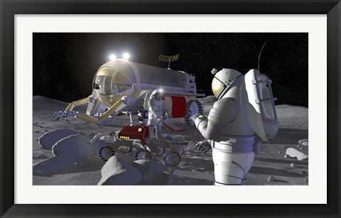 Framed Artist's Rendering of Future Space Exploration Missions Print
