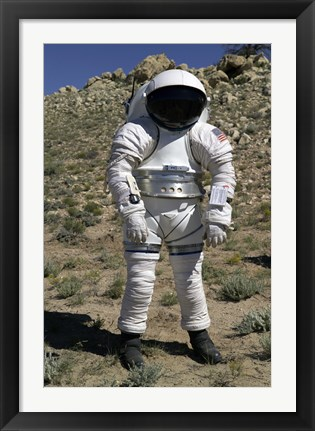 Framed Astronaut Equipped with a Mark-III Suit Takes a Stroll in the Desert Print