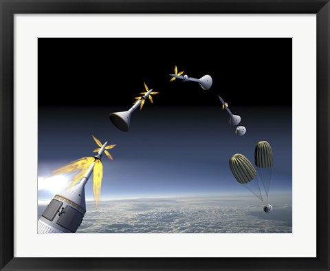 Framed Artist's Rendering of an Emergency use System of the Launch Abort System Print