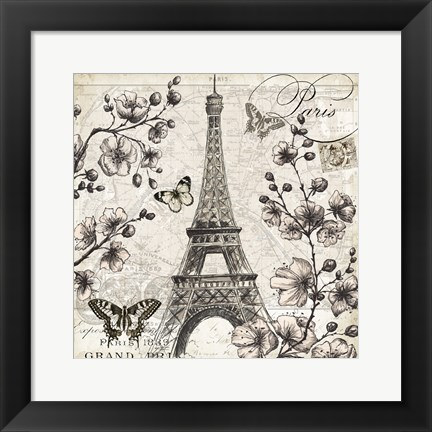 Framed Paris in Bloom I Print