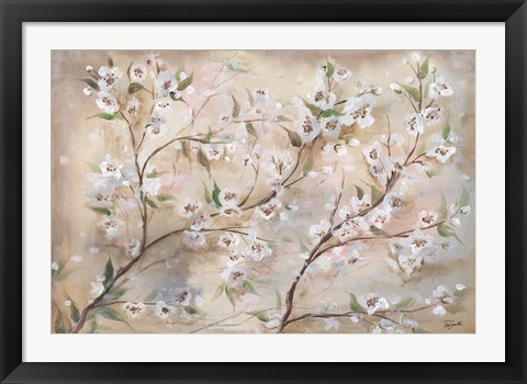 Framed Cherry Blossoms Taupe Landscape Print