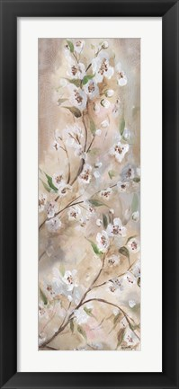 Framed Cherry Blossoms Taupe Panel I Print