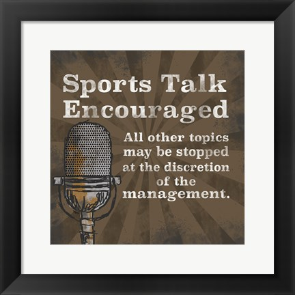 Framed Sports Talk I Print