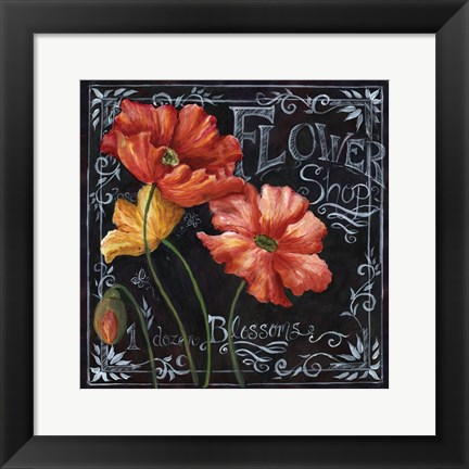 Framed Flowers in Bloom Chalkboard I Print