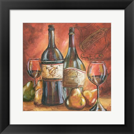 Framed Red and Gold Wine II Print