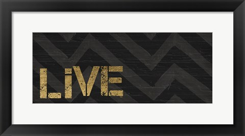 Framed Chevron Sentiments Black/Gold Panel I Print