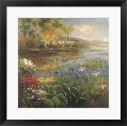 Framed Village Pond Print