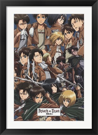 Framed Attack on Titan - Collage Print