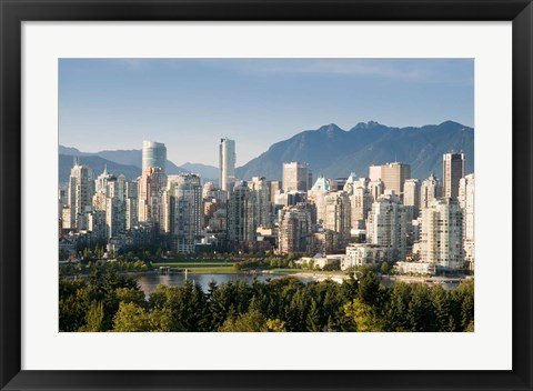 Framed Skyline of Vancouver, British Columbia, Canada Print