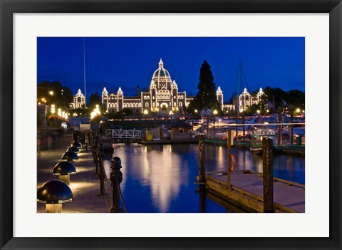 Framed Canada, British Columbia, Victoria, Inner Harbor at Dusk Print