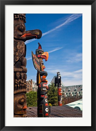 Framed British Columbia, Victoria, Native American Totems Print