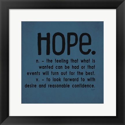 Framed Definitions-Hope III Print