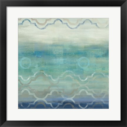 Framed Abstract Waves Blue/Gray I Print