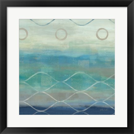 Framed Abstract Waves Blue/Gray II Print