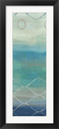 Framed Abstract Waves Blue/Gray Panel II Print