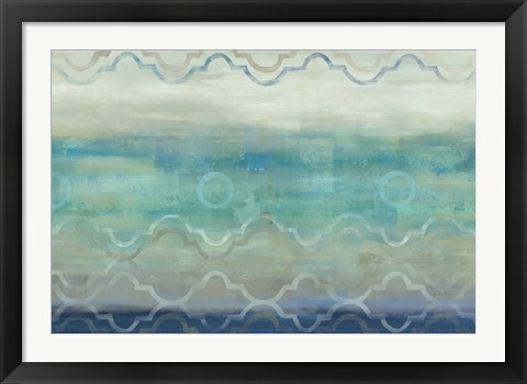 Framed Abstract Waves Blue/Gray Print