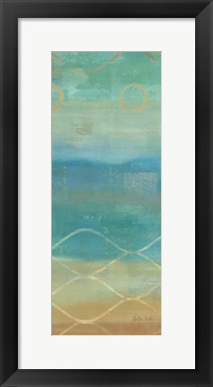 Framed Abstract Waves Blue Panel II Print