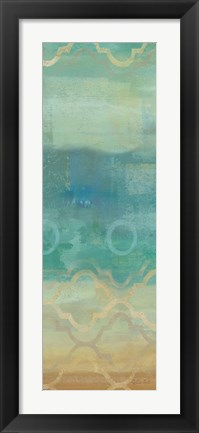 Framed Abstract Waves Blue Panel I Print