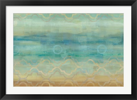 Framed Abstract Waves Blue Print
