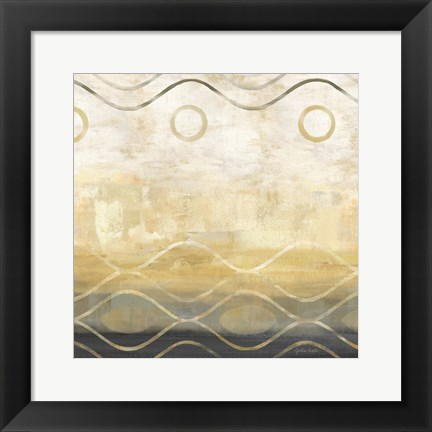 Framed Abstract Waves Black/Gold II Print