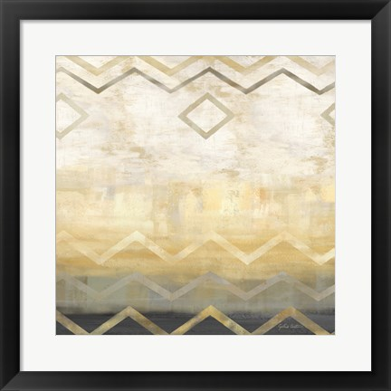Framed Abstract Waves Black/Gold I Print
