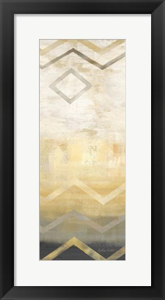 Framed Abstract Waves Black/Gold Panel I Print