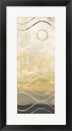 Framed Abstract Waves Black/Gold Panel II Print
