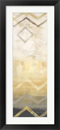 Framed Abstract Waves Black/Gold Panel III Print