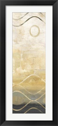 Framed Abstract Waves Black/Gold Panel IV Print