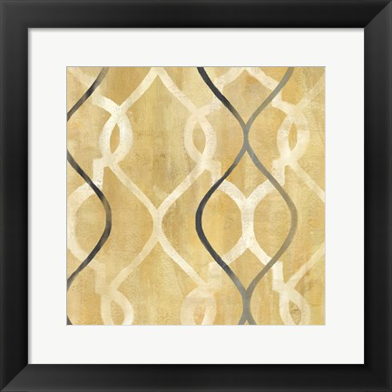 Framed Abstract Waves Black/Gold Tiles II Print