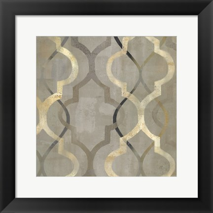 Framed Abstract Waves Black/Gold Tiles III Print