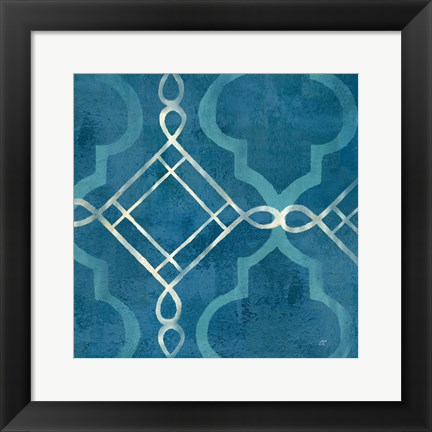 Framed Abstract Waves Blue/Gray Tiles I Print