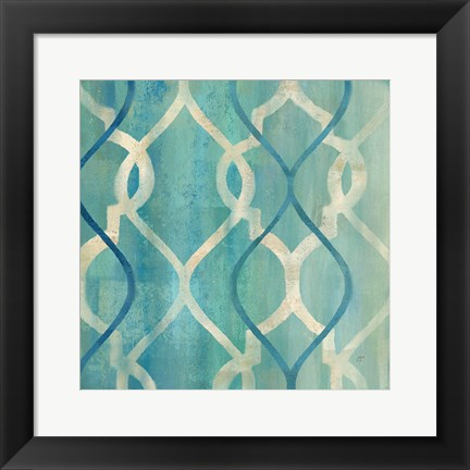 Framed Abstract Waves Blue/Gray Tiles II Print