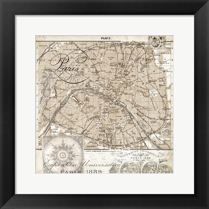 Framed Euro Map I - Paris Print