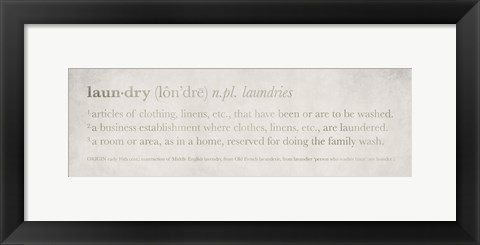 Framed Definitions Laundry Print