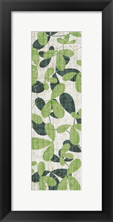 Framed Green Leaves on Cream II Print