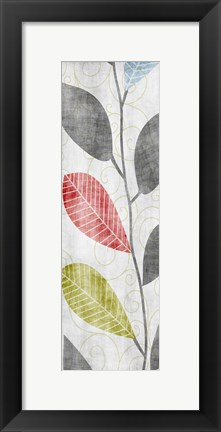 Framed Gray Red Blue Green Leaves Print