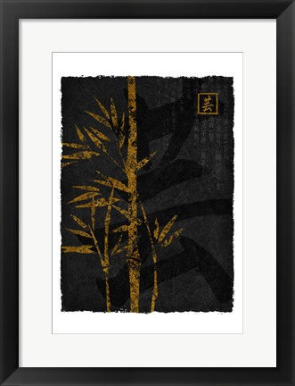 Framed Black Gold Bamboo 2 Print