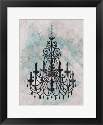 Framed Chandelier  Splash Of Blue 1 Print