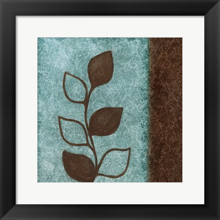 Framed Brown Leaves Square Right Print