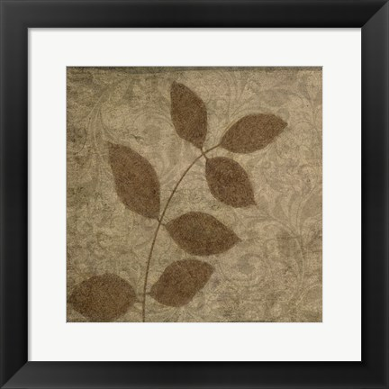 Framed Vintage Leaves 3 Print