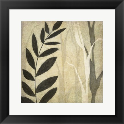 Framed Leaves In The Mist Print
