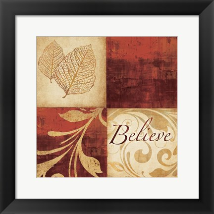 Framed Red Gold Believe Print