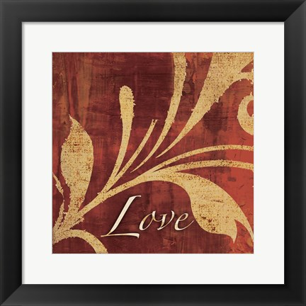 Framed Red Gold Love Print
