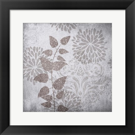 Framed Warm Gray Flowers 2 Print