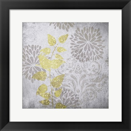 Framed Warm Gray Flowers 5 Print